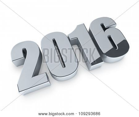 New 2016 year figures isolated on white background.
