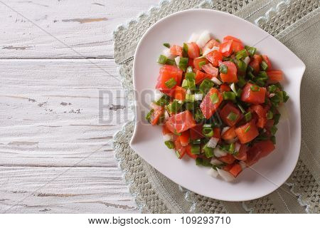 Salted Salmon Salad With Vegetables. Horizontal Top View