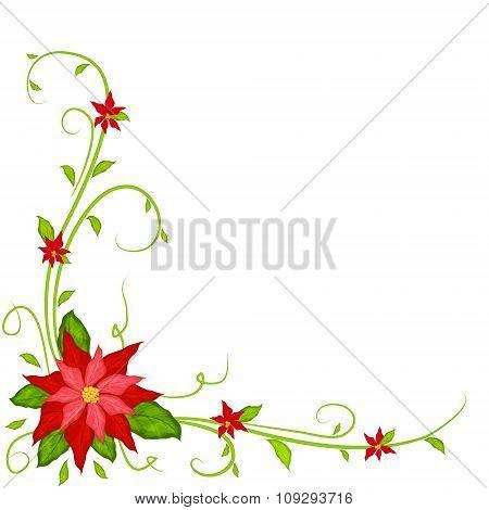 Christmas Decoration With Poinsettia Vector