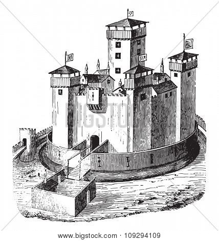 Chateau de la Panouse, whose ruins still exist, vintage engraved illustration. Industrial encyclopedia E.-O. Lami - 1875.