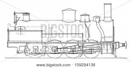 Machine four-axle goods coupled Northern Railway, vintage engraved illustration. Industrial encyclopedia E.-O. Lami - 1875.