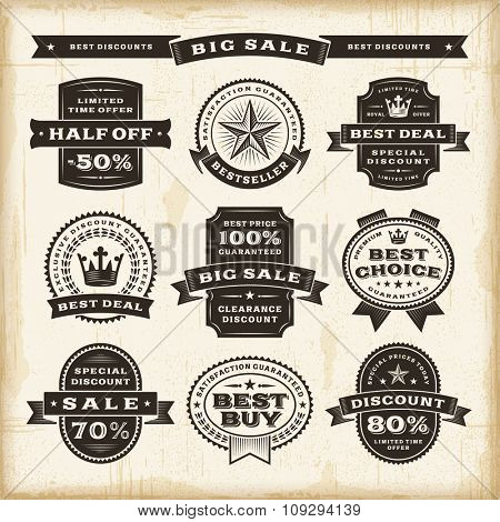 Vintage sale labels set. Editable EPS10 vector illustration with transparency.