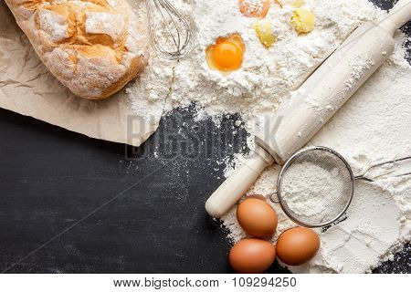 Rustic Bread With Egg, Flour, Steiner And Rolling Pin