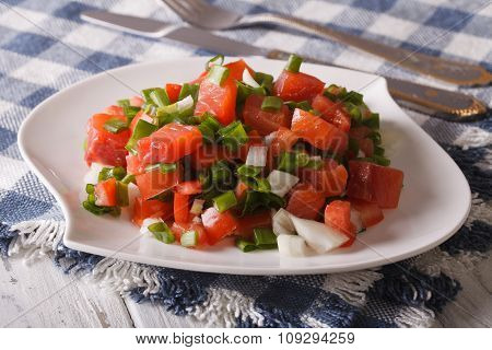 Hawaiian Festive Salad With Salted Salmon With Vegetables Close-up