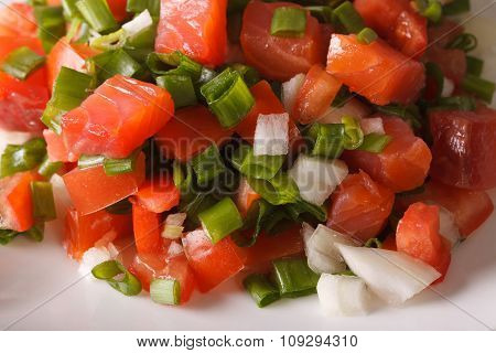 Salted Salmon Salad With Tomatoes And Green Onions Macro. Horizontal