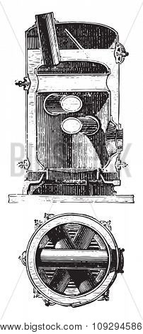 Boiler distillers crossed, vintage engraved illustration. Industrial encyclopedia E.-O. Lami - 1875.