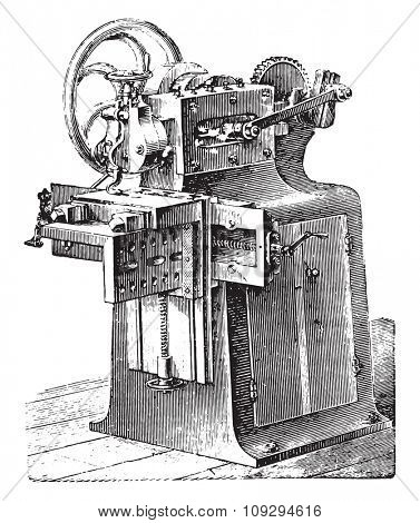 Shaper, vintage engraved illustration. Industrial encyclopedia E.-O. Lami - 1875.