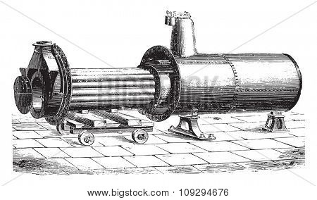 View the removable hearth generator during cleaning, vintage engraved illustration. Industrial encyclopedia E.-O. Lami - 1875.