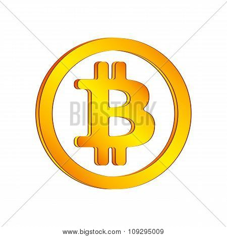 Orange bitcoin icon in a circle on a white background. Vector illustration