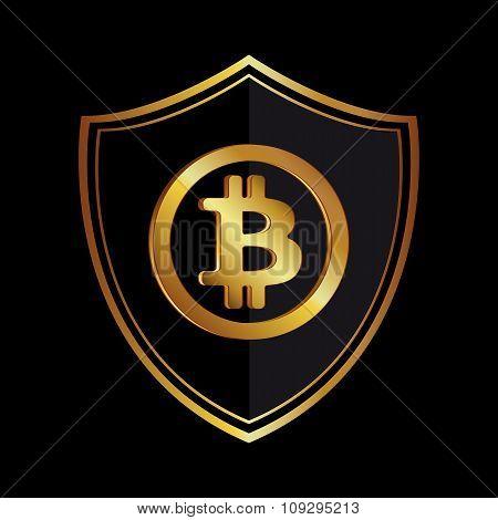 Golden bitcoin icon circle badge black-gray background. Vector illustration