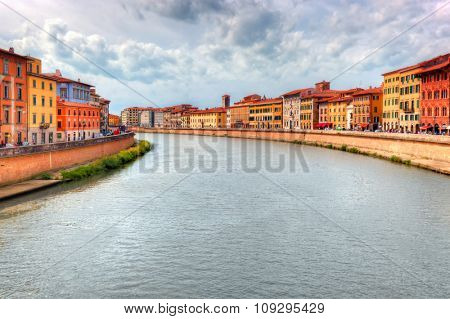 Arno river in Pisa, Tuscany, Italy. Italian architecture