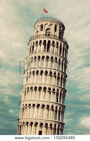 The Leaning Tower of Pisa, Tuscany, Italy. Popular European tourist attraction. Vintage, retro style