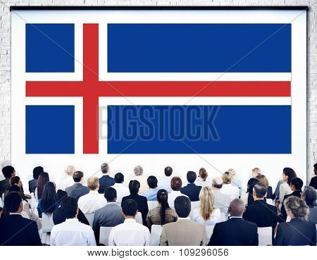 Iceland National Flag Government Freedom LIberty Concept
