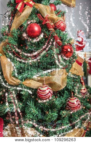 Christmas tree decoration closeup for New year background