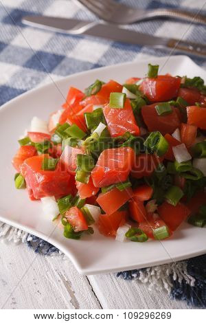 Salted Salmon Salad With Vegetables Close-up. Vertical