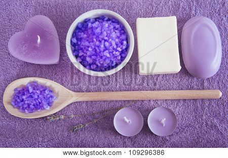 Lavender Scented Purpe Bath Salt In A Wooden Spoon