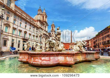 Piazza Navona, Rome, Italy. Fontana del Moro, Moor Fountain