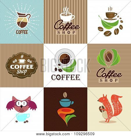 Set Of Vector Coffee Elements And Accessories. Illustration Can Be Used As Logo Or Icon.