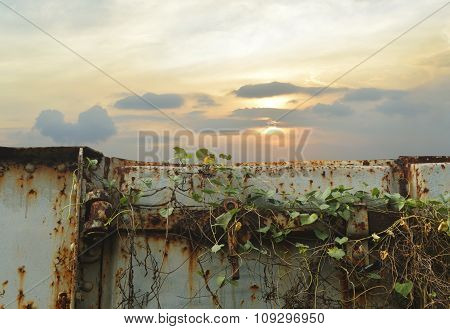 Old Railroad Container Door Over Sunset Sky