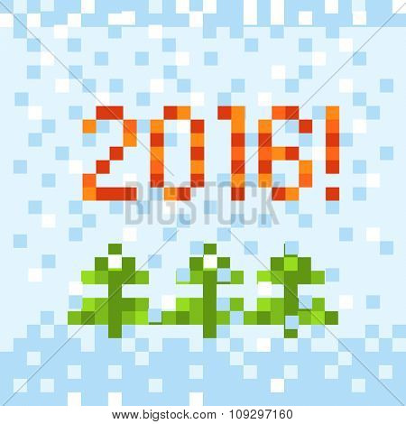 Abstract christmas greeting card. Pixelart concept
