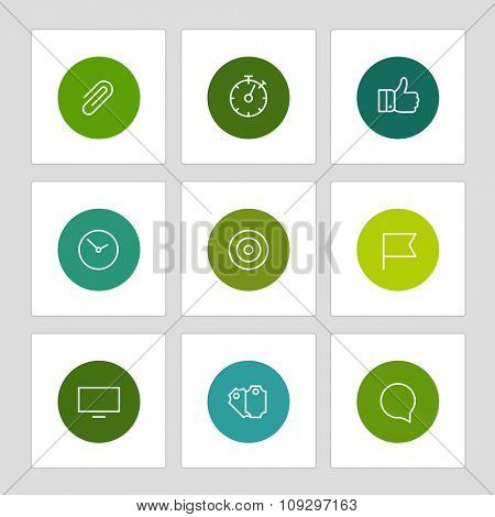 Different line style icons on circles. Application pictograms collection