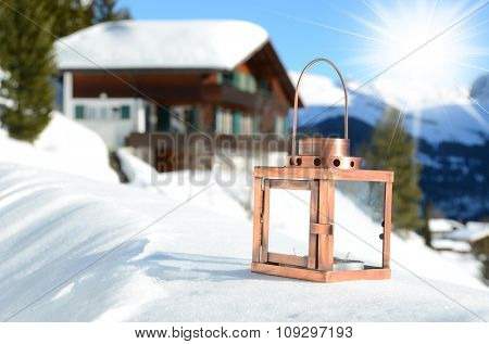 Lantern on the snow