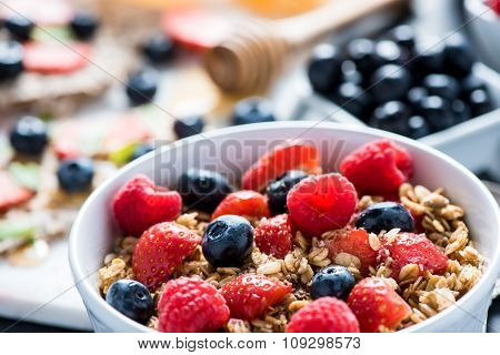 Bowl With Fresh Berries And Cereal