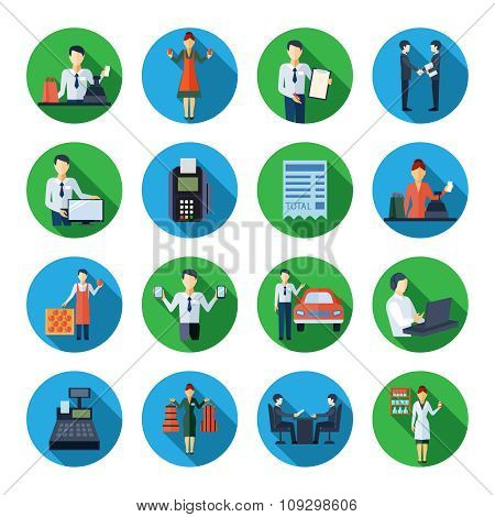 Salesman flat round icons set