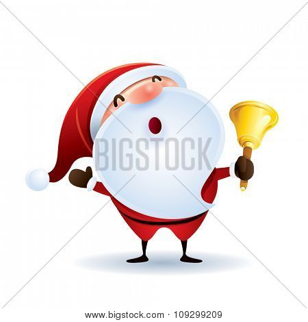Santa Claus is holding a bell