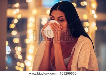Enjoying Hot Drink.