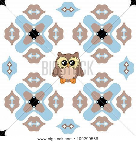 Seamless Ornate Pattern With Cute Owl