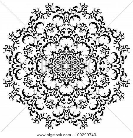 Circular floral ornament in black and white. Mandala, Yantra brown. Vintage vector banner frame card