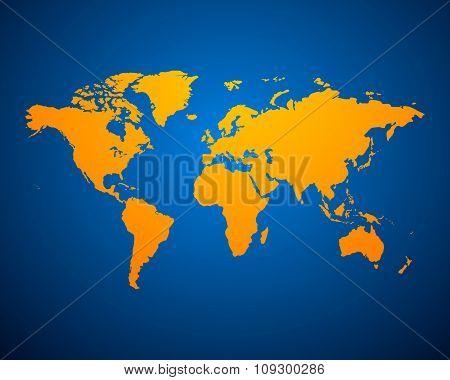Orange Political World Map on blue background. Vector illustration EPS-10