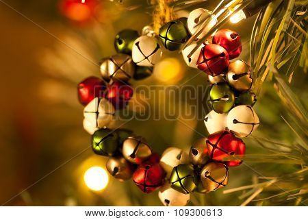 Jingle Bell Wreath Christmas Tree Decoration front view