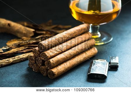 Pile Of Authentic Cuban Cigars