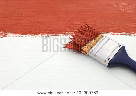 Paintbrush With Red Paint, Painting Over White Board
