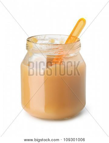 Baby fruit puree jar isolated on white