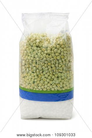 Dried peas plastic packet isolated on white
