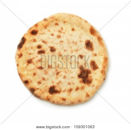 Top view of baked flatbread isolated on white
