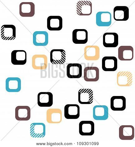 Seamless Square Pattern In Black, Orange, Brown And Blue