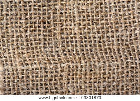 Closeup of sackcloth texture