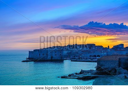 Sunset Over The Old Town Of Dubrovnik, Croatia