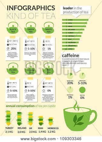 Tea info-graphics set. Statistics of hot beverages.