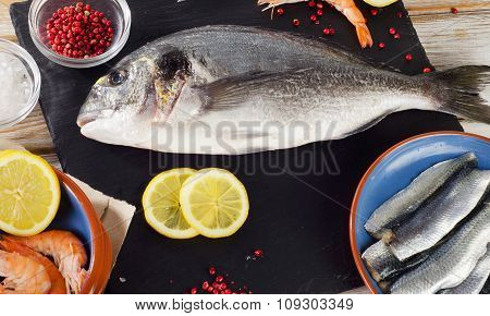 Fish  With  Spices , Salt And Shrimps - Healthy Food.
