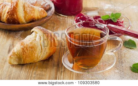 Cup Of Tea And Croissants For  Breakfast.