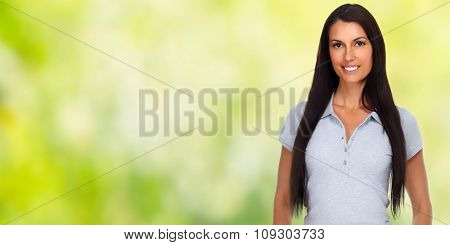 Casual woman portrait over green background.