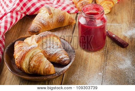 Berry Jam And Croissants For  Breakfast.