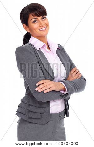 Beautiful young business woman isolated white background.