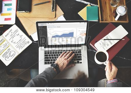 Business Chart Working Laptop Analysis Internet Concept