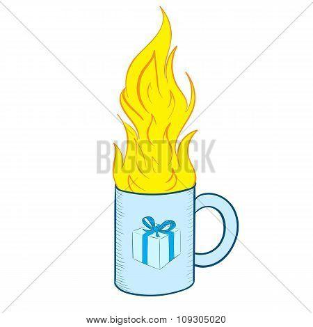 Mug with fire